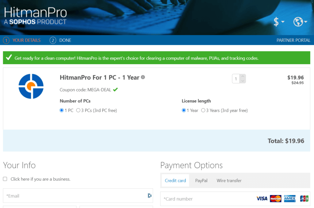 HitmanPro Coupon Code Activated
